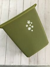 "Vintage Rubbermaid Avocado Green Waste Paper Trash Can White Daisies 10.25"" 2952"