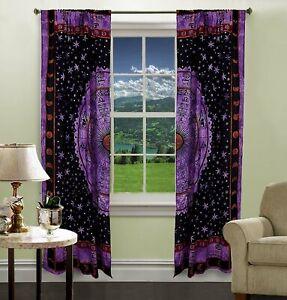 Indian Bohemian Purple Astrology Zodiac Window Mandala Drape Room Boho Curtains