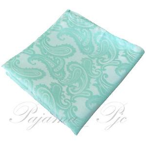 Men's Paisley Handkerchief Only Pocket Square Hanky Aqua Wedding Party Prom