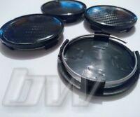 4x BLACK CARBON FIBRE EFFECT 63MM ALLOY WHEEL CENTRE CAPS UNIVERSAL FITTING