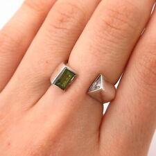 C Z Gap Ring Size 6 1/4 925 Sterling Silver Real Peridot Gem &