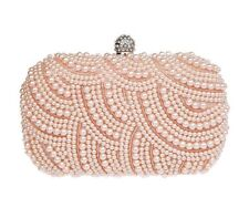 Albabara Satin Pearl Beaded Evening Bag Champagne Wedding Party Clutch