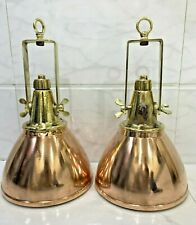 Antique Nautical Ship Brass & Copper Authentic Pendant Hanging Spot Light 2pcs