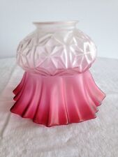 ANTIQUE FRILLED CRANBERRY GLASS LIGHT/LAMP SHADE.