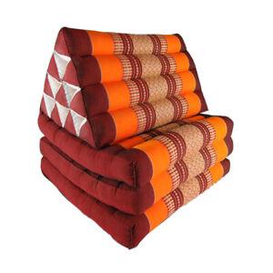 Thai Three Fold Triangular Cushion - Maroon/Orange (DM25)