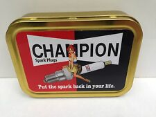 Champion Spark Plugs Vintage Garage Girl Cigarette Tobacco Storage 2oz Tin