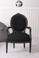 Barocker Stuhl Sessel Armlehnstuhl Esszimmerstuhl Schwarz Sessel Barockstuhl
