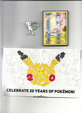 MEW HOLO PROMO Card XY110+ Collectible PIN+ POSTER-XY Generations Mythical MINT