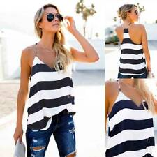 UK Womens Fashion Summer Beach Striped Vest Tops Shirt Ladies Casual Blouse Hot
