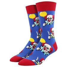 Socksmith Men's Crew Socks Free Balloons Creepy Clowns Blue Novelty Footwear