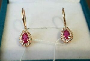 NEW Earrings ruby + CZ fine jewelry, Russian gold 14k soviet style ussr, gift