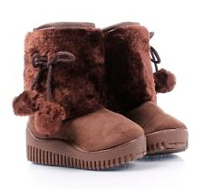 Brown Color Faux Fur Suede Casual Booties Toddler Kids Baby Girls Boots Size 7