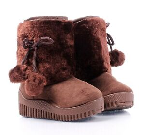 Brown Color Faux Fur Suede Casual Booties Toddler Kids Baby Girls Boots Size 4