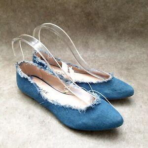 Rampage Womens Casie  Sz 6.5 M Blue Slip On Denim Ballet Flats