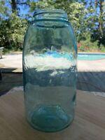 Rare Antique Half Gallon Mason's Patent Blue fruit jar