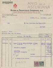 Factura Anís de la Asturiana. Oviedo, 16 de Noviembre de 1950.