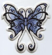 Iron On Patch Embroidered Applique Large Faded Blue and White Tribal Butterfly