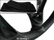 FOR TRIUMPH TR3 1955-1962 REAL BLACK LEATHER STEERING WHEEL COVER GREY STITCHING