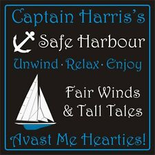 Personalised SHED house sign plaque 200mm x 200mm rigid 3mm boat ship captain