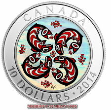 CANADA $10 - 1/2 oz FINE SILVER HOLOGRAM COIN - FIRST NATION ARTS: SALMON - 2014