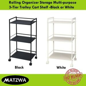 Rolling Organizer Storage Multi-purpose 3-Tier Trolley Cart Shelf -Black / White