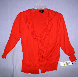 New NUE OPTIONS Petite women's sz PM sweater flame red cardigan ruffled collar