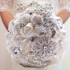 Brides Bouquet Handmade Wedding Ivory Rose Silk Flower Crystal Pearl Brooch Posy