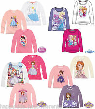 Girls Disney FROZEN Princess SOFIA THE FIRST Long Sleeve CHARACTER Top T- Shirt