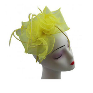 Ladies Metallic Sheen Organza Flower Fascinator With Feathers Headband And Clip