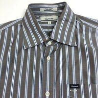 Faconnable Mens Size Large Button Front Long Sleeve Dress Shirt Brown Blue