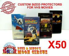 50x VHS MOVIE CLEAR PLASTIC PROTECTIVE BOX PROTECTORS SLEEVE - ARCHIVAL QUALITY