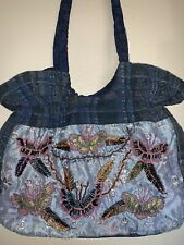 EMBROIDERED BEADS on HOBO BAG PURSE Beautiful colored butterfly and flowers