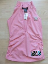 Cute Hippie Zip Front Fitted Tank Top Love Star Heart Patches Ruched Sides Pink