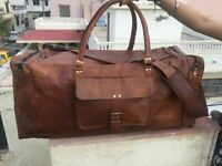 Men's Genuine Leather Vintage Duffel Suitcase Travel Gym Weekend Overnight Bag