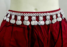 Vintage Ethnic Afghan Kuchi Tribal Silver Coins Belt Belly Dance Hip Skirt Scarf