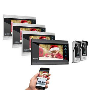 "TMEZON Wireless WiFi Video Doorbell Intercom 7"" IP Monitor Wired Outdoor Camera"