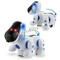 Blue Robot Robotic Electronic Walking Pet Dog Puppy Kids Toy With Music Light