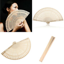 1x Chinese Style Vintage Wood Hollow Carved Hand Fan Foldable Fan Hand Fans Gift