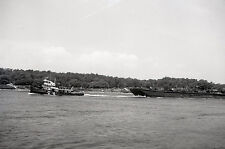 "Tug Boat ""Especo"" Towing Barge - c1970s - Vintage B&W Ship Negative"