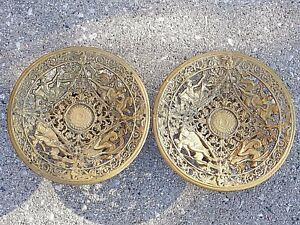 God & Goddesses Greek Roman ironware Metal Art compote Dish pair