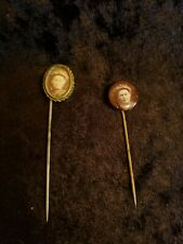 Antique Victorian Mourning Photo Pins - Set of 2