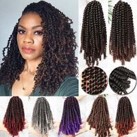 "8"" Kinky Curly Spring Twist Ombre Shades Crochet Braids Synthetic Braiding Hair"