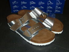 NEW Birkenstock Sandals Leather Cork Arizona NIB Blue / Liquid Silver sz 7 Women