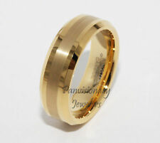 Tungsten Carbide Ring Gold IP 6MM Brushed Satin Strip Polish Edge Wedding Band