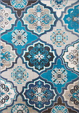 "Blue MultiColor Transitional Modern 5x7 Area Rug Floral Carpet Actual 5'2""x7'2"""