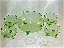 FANTASTIC  ANTIQUE  GREEN  GLASS  DESSERT SET FOR 4 BOHEMIA