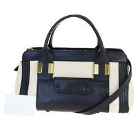 Authentic CHLOE Alice 2Way Shoulder Hand Bag Leather Beige Black Romania 04BM500