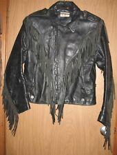 Vintage Mens M? Verducci Black Leather Fringed Motorcycle Coat Jacket