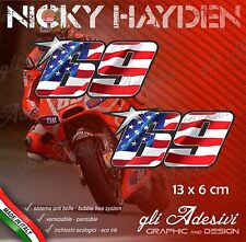 2 Adesivi Stickers HAYDEN 69 numero cupolino replica USA flag 13 x 6 cm