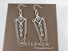 SILPADA Sterling Silver Cubic Zirconia CLEOPATRA Chandelier Chain Earrings W2367